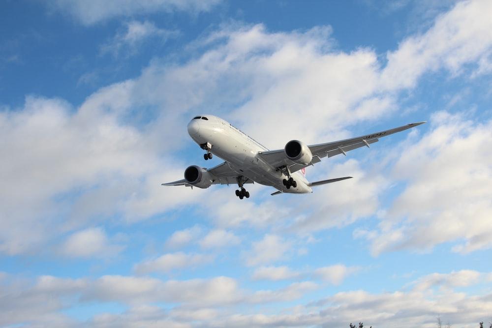 white airplane under blue sky during daytime