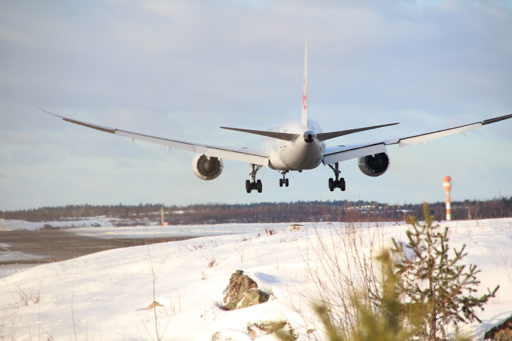 white airplane on white snow field during daytime