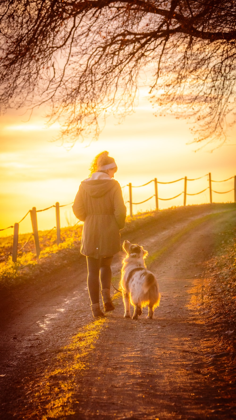 woman in brown coat holding white dog on brown dirt road during sunset