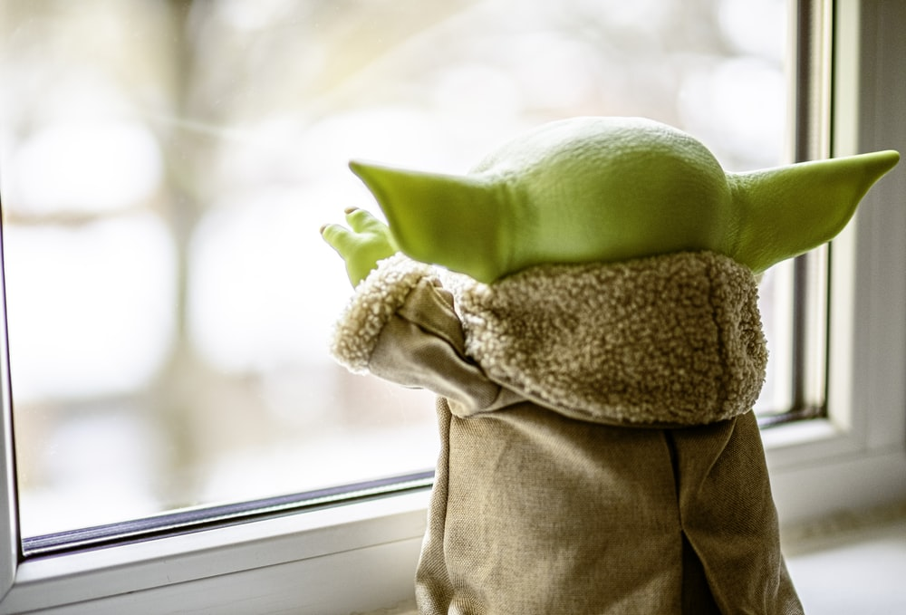 green frog plush toy on brown textile
