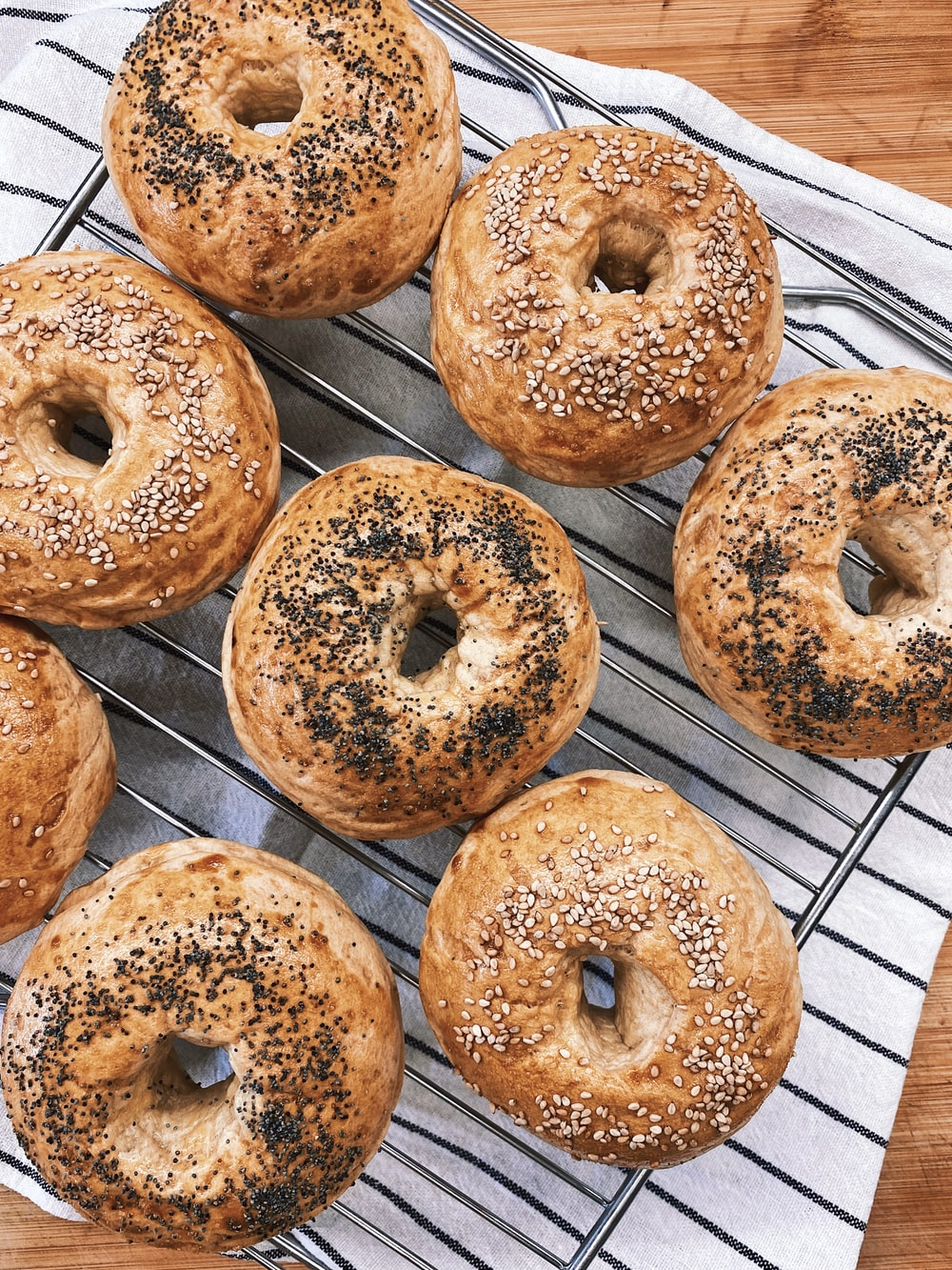 doughnuts on stainless steel tray
