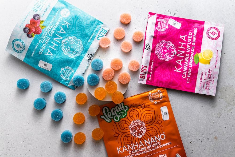 orange and blue plastic pack