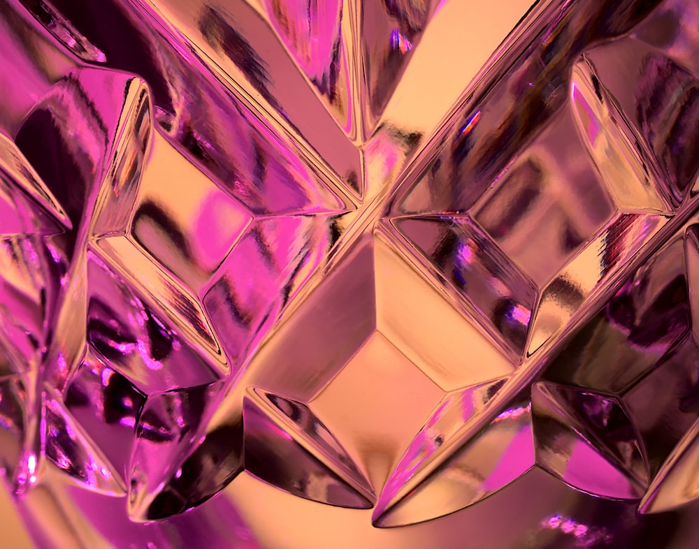 purple diamond shaped glass decor