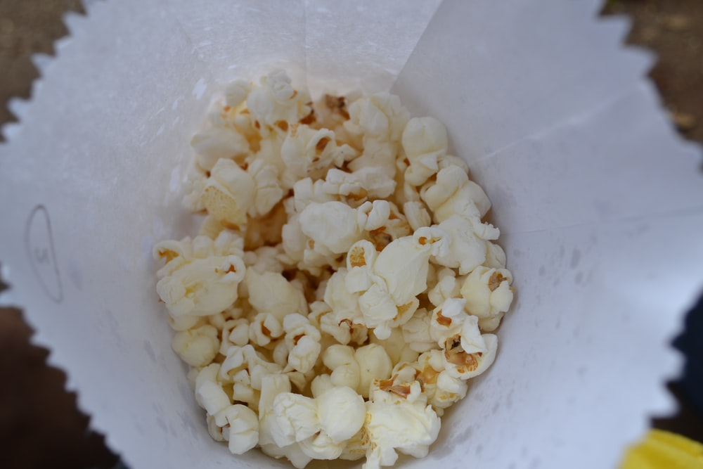 white popcorn on white paper