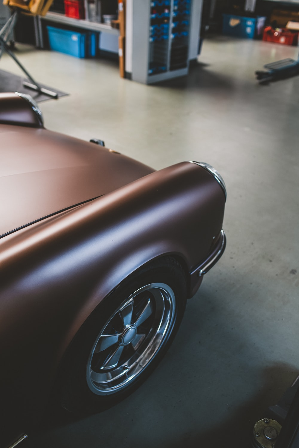 brown car in a room