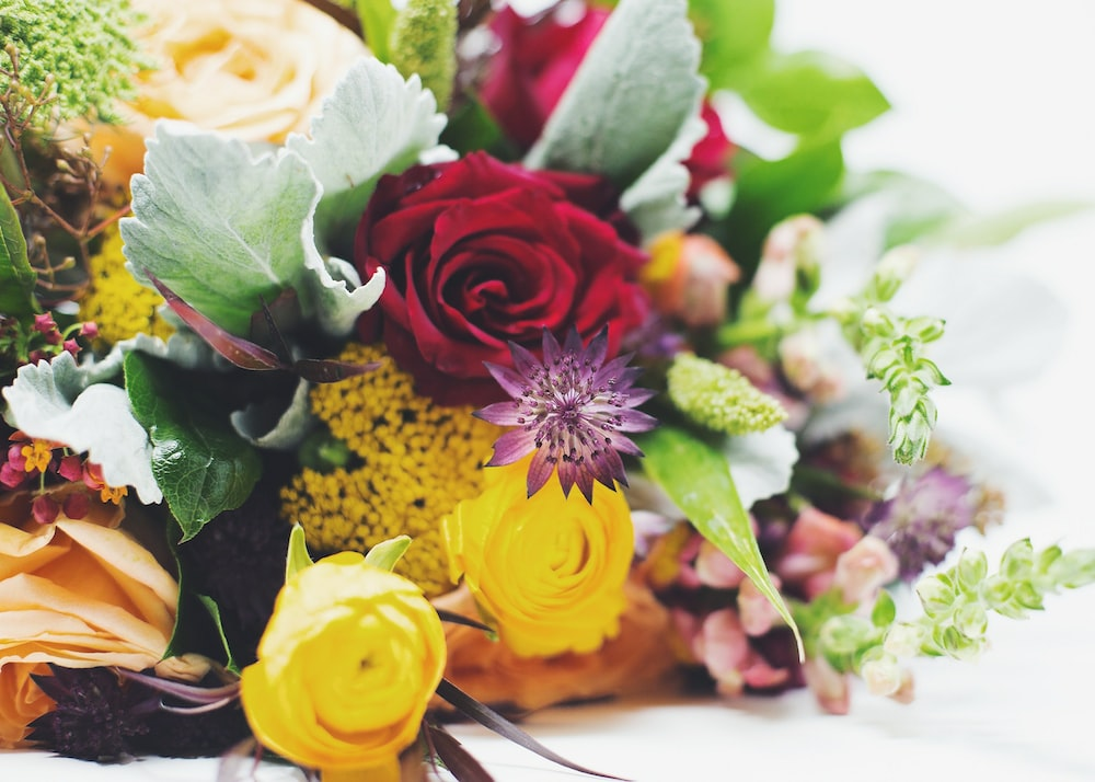 yellow and red rose bouquet