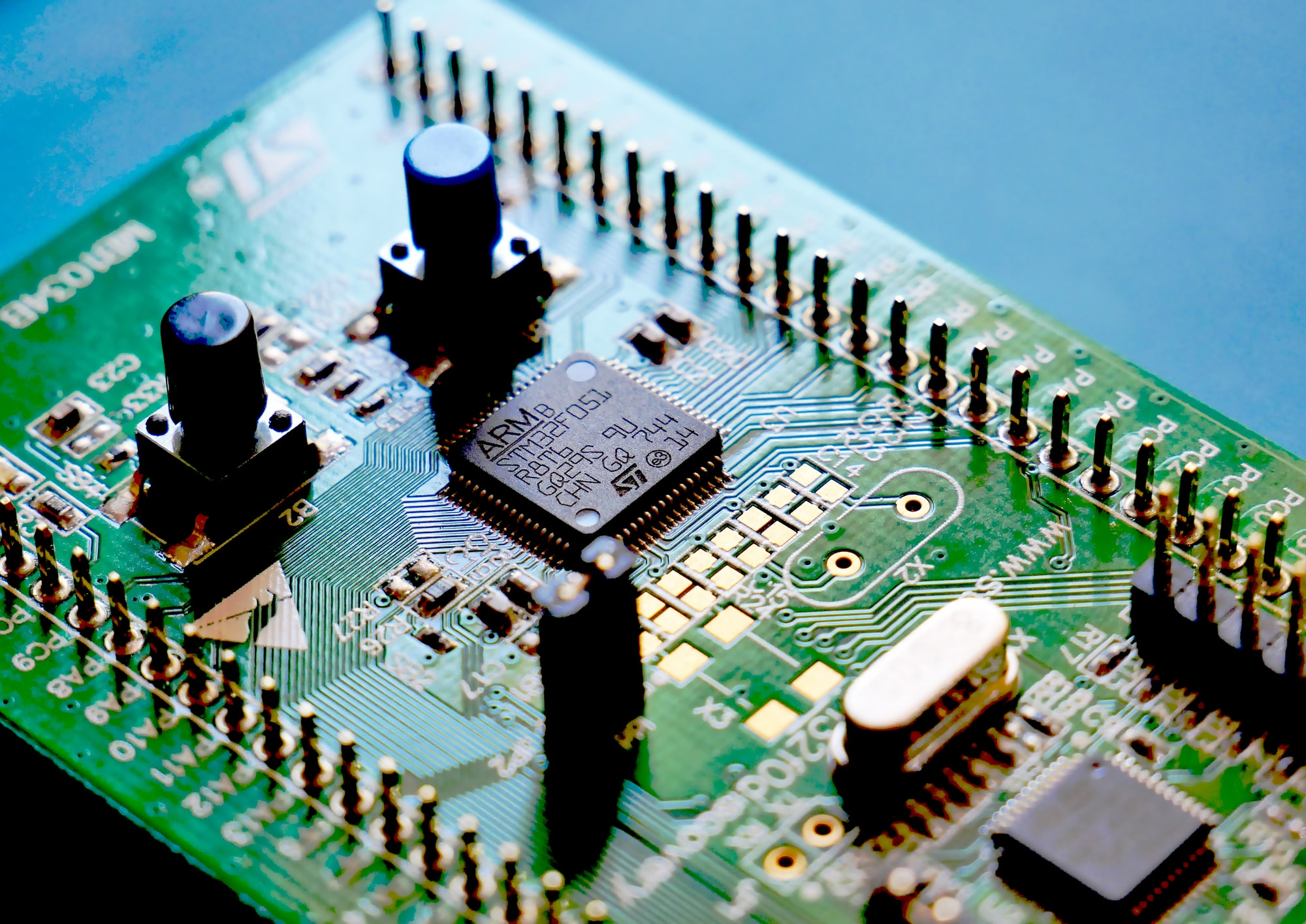 STM32F0 Discovery microcontroller development board.