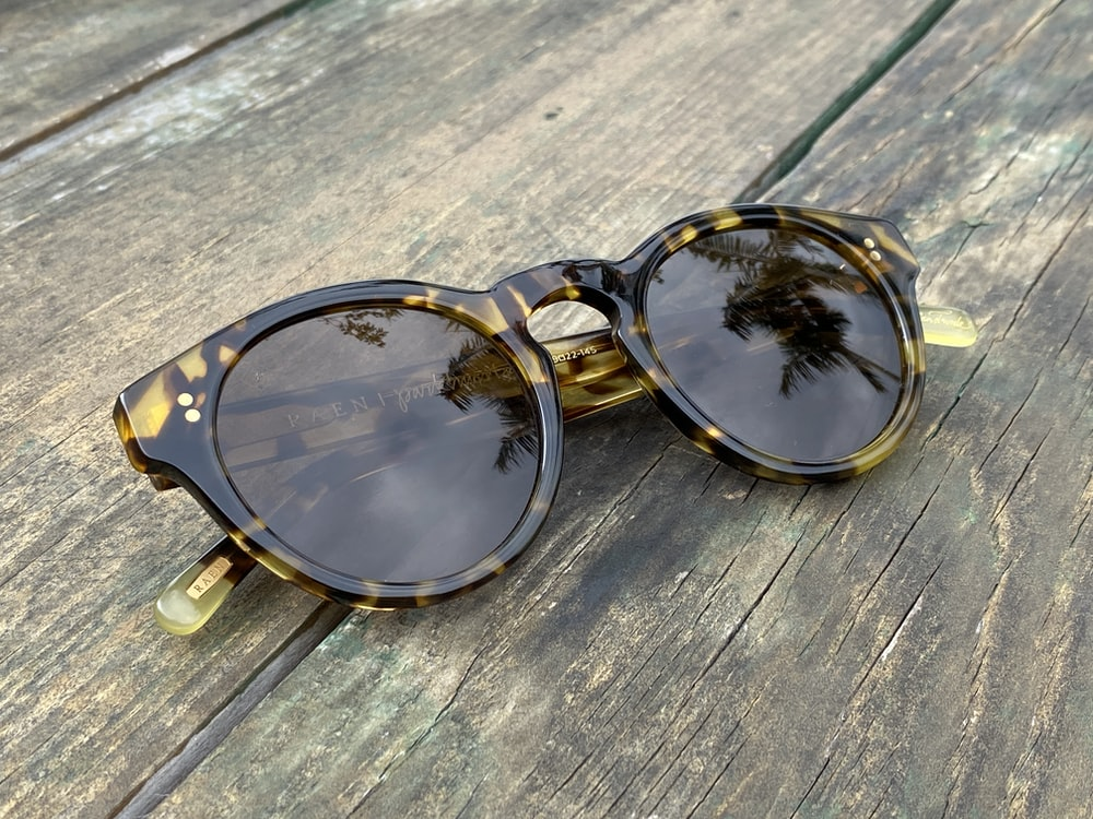 black and brown framed sunglasses