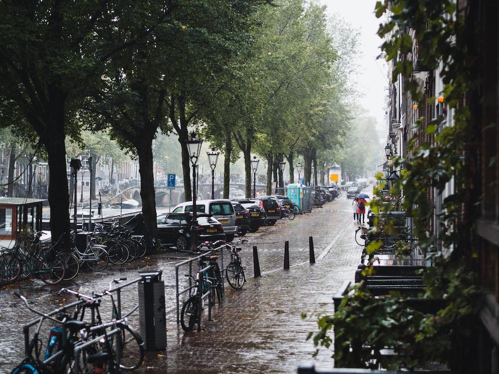 people walking on sidewalk with bicycle parked on sidewalk during daytime