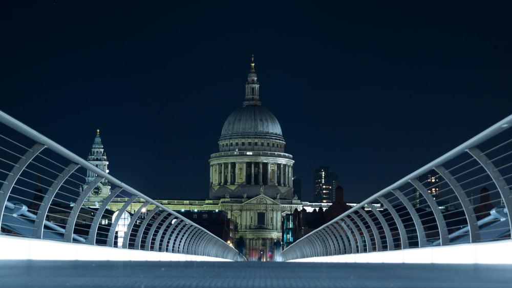 white and blue dome building during nighttime