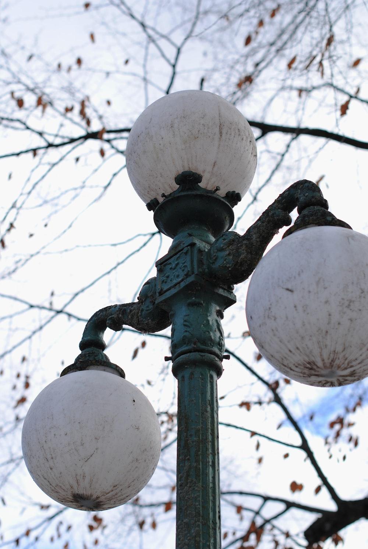 black metal street light post