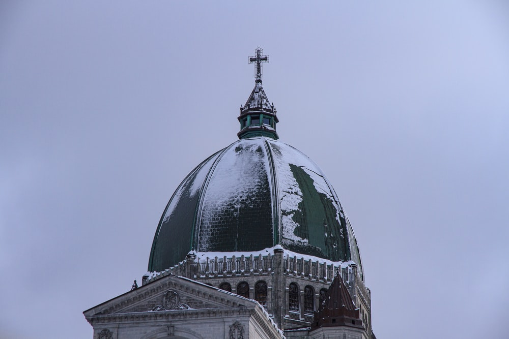white and green dome building