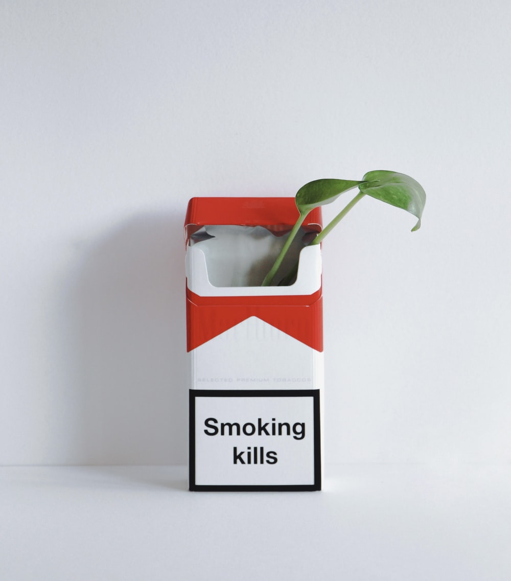 red and white cigarette pack