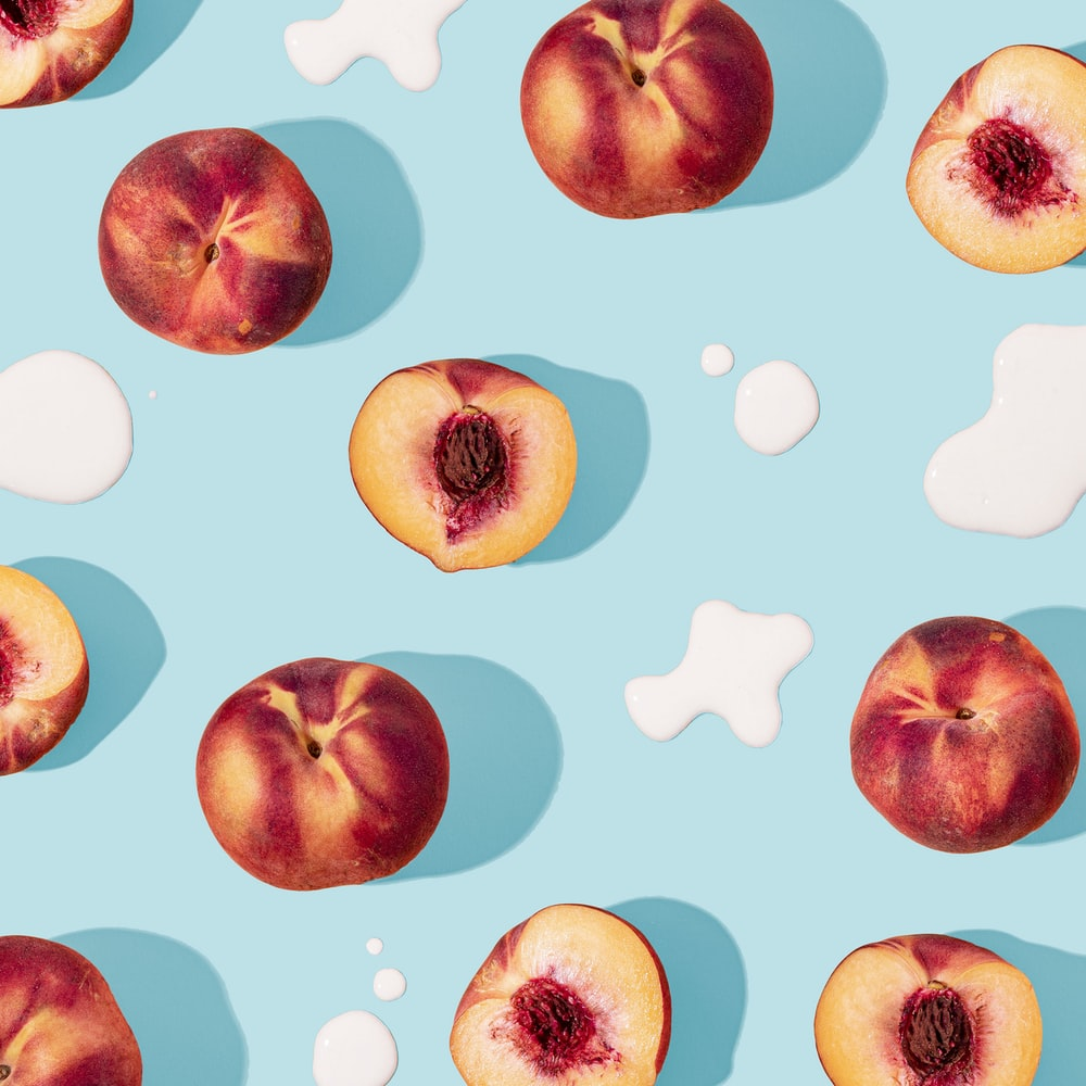 blue and white apple and strawberry illustration