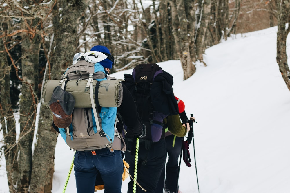 person in blue jacket and blue denim jeans with blue backpack standing on snow covered ground