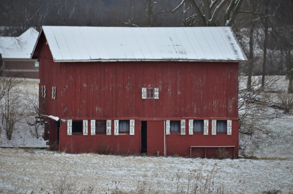 red and black wooden barn house