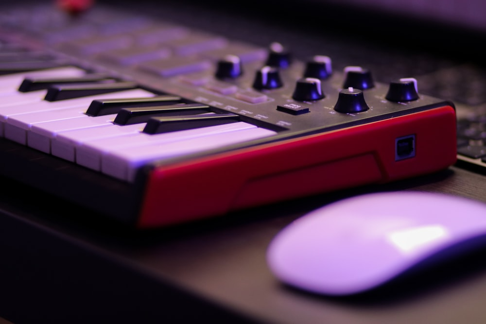 red and white audio mixer