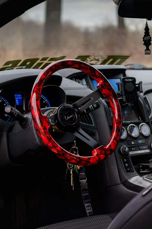 red and black steering wheel
