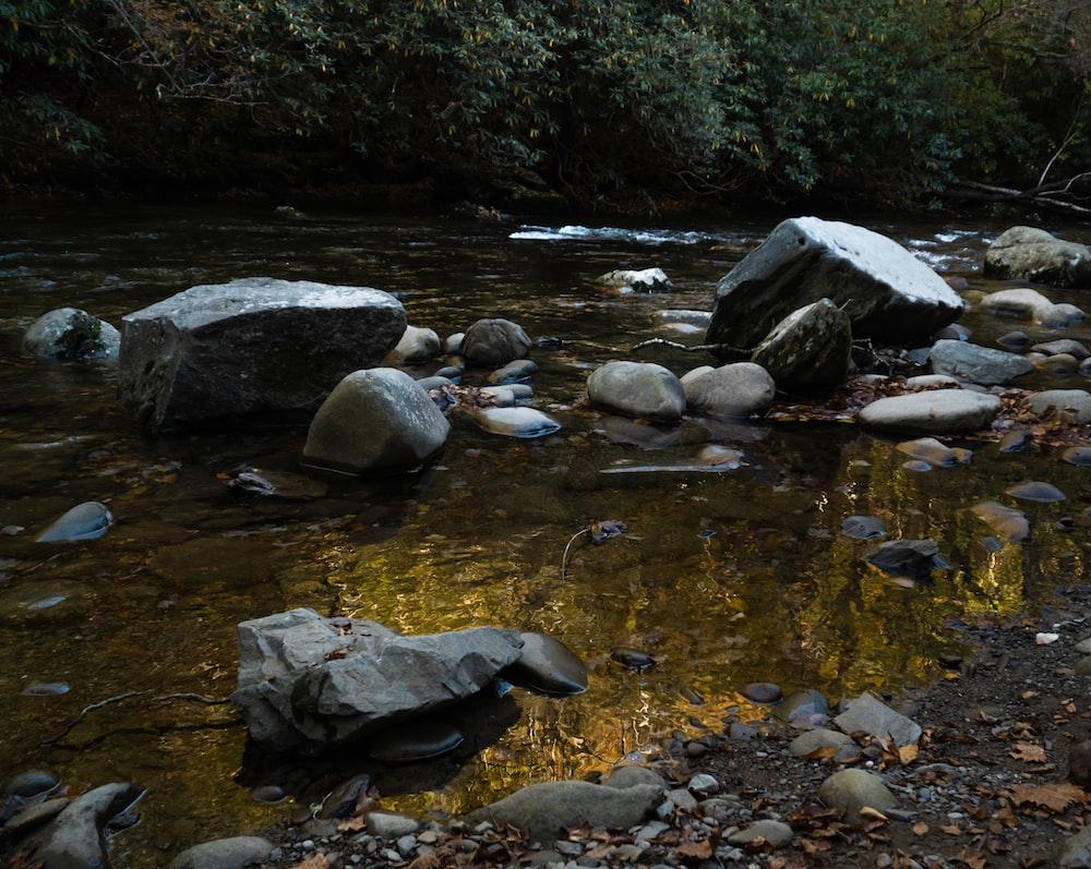 gray rocks on river during daytime
