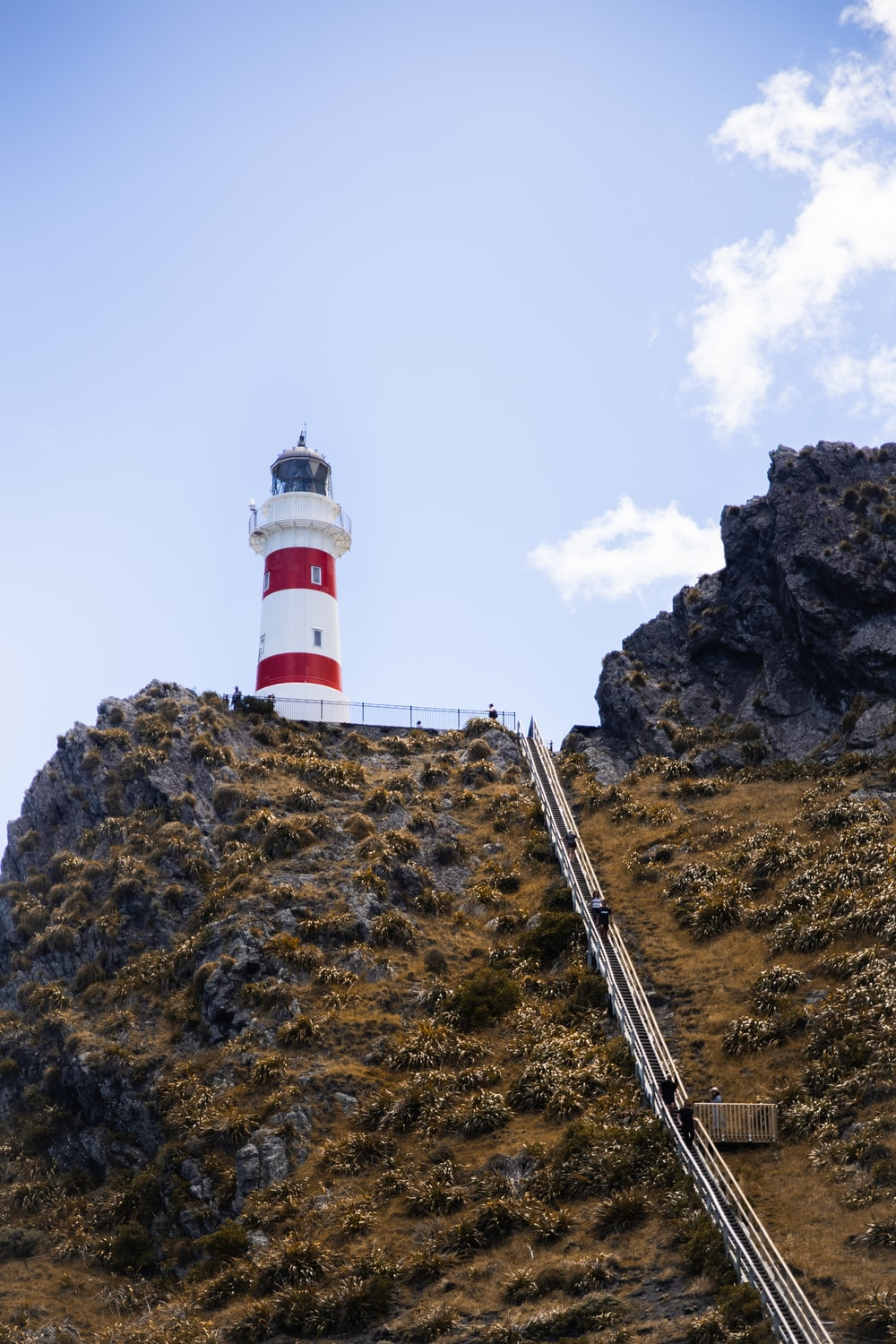 white and red lighthouse on brown rocky mountain under white cloudy sky during daytime
