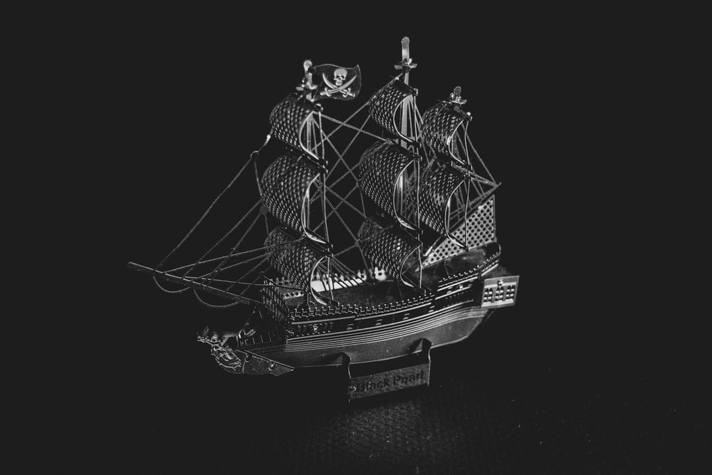 black and white ship scale model