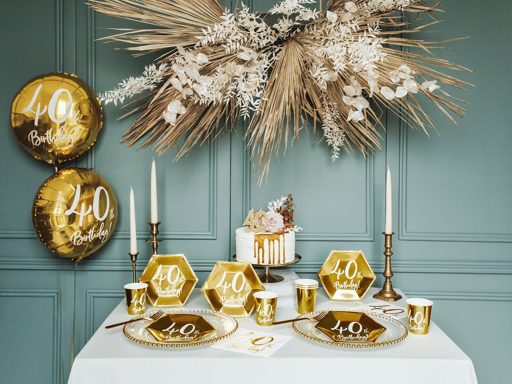 gold and white floral decor