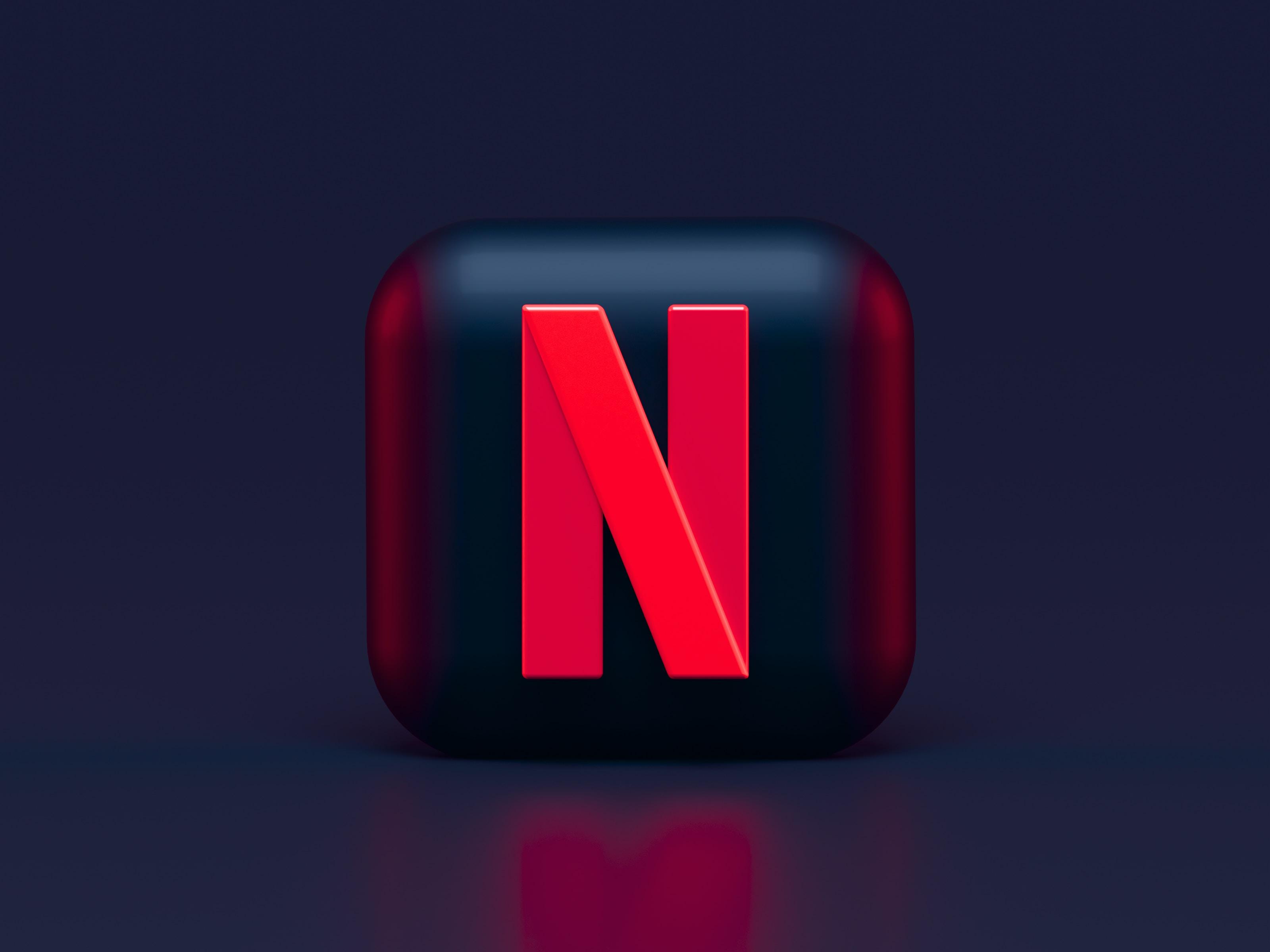 Netflix Dark Mode 3D icon concept
