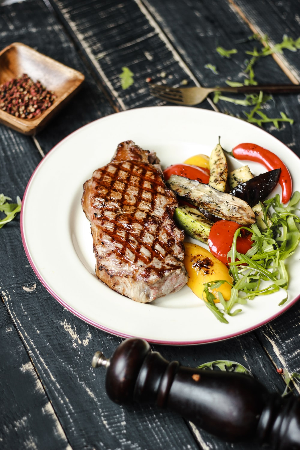 grilled meat on white ceramic plate