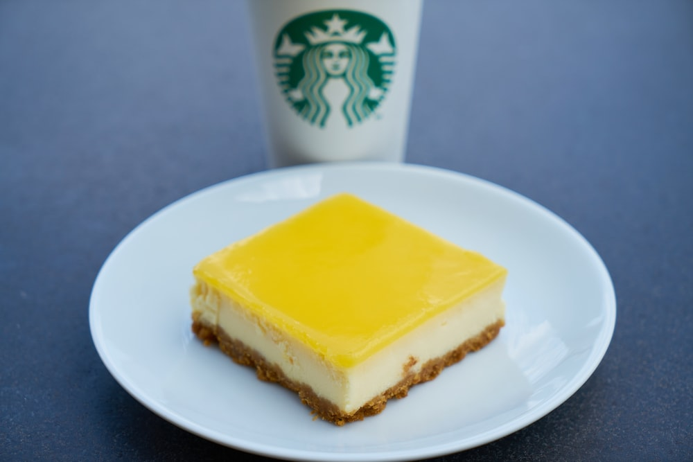 yellow cake on white ceramic plate
