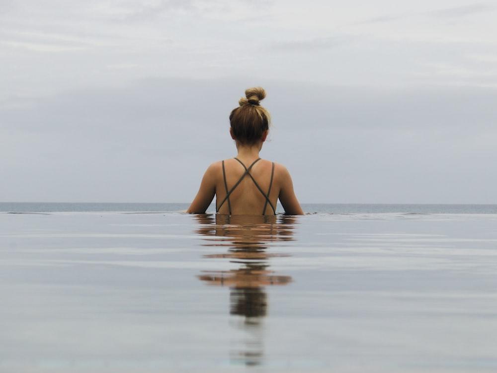 woman in black bikini on water