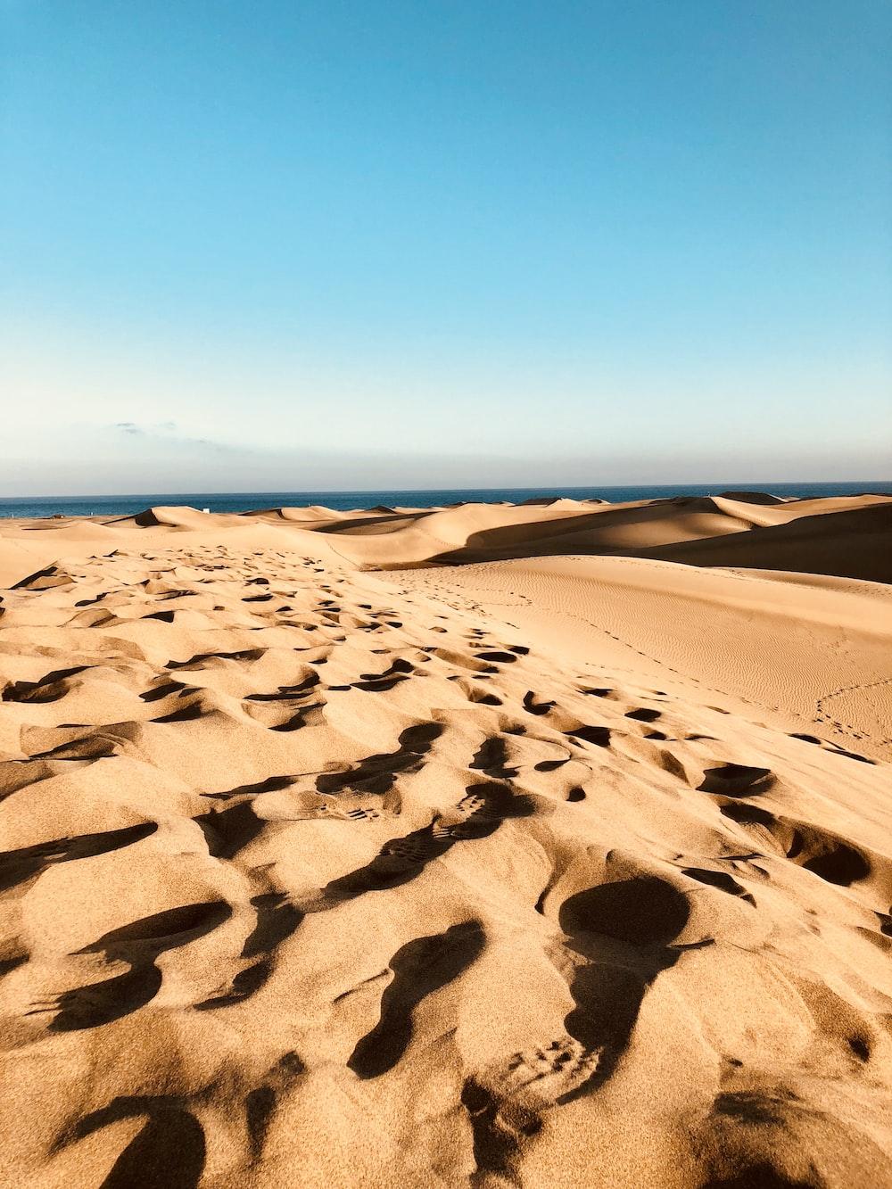 arena marrón bajo un cielo azul durante el día