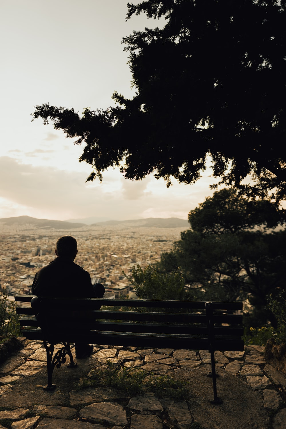 silhouette of man sitting on bench during sunset