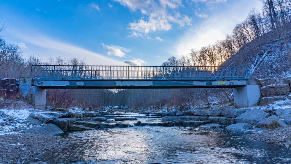bridge over river under blue sky during daytime