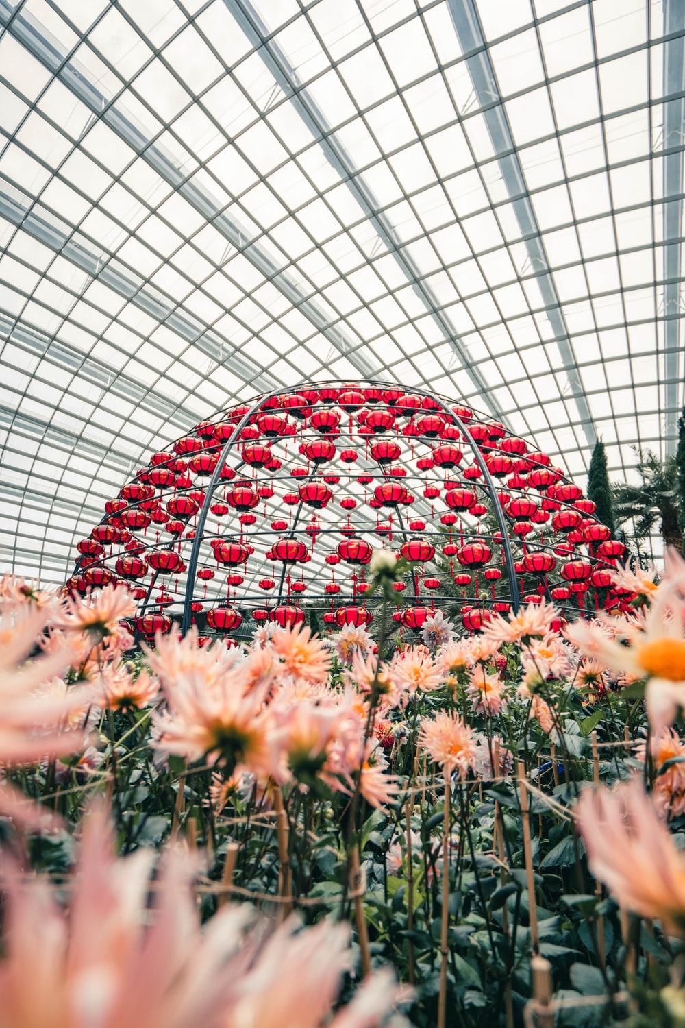 red and white floral round roof