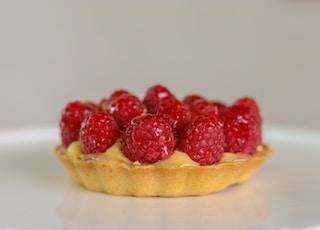 strawberry pie on white ceramic plate