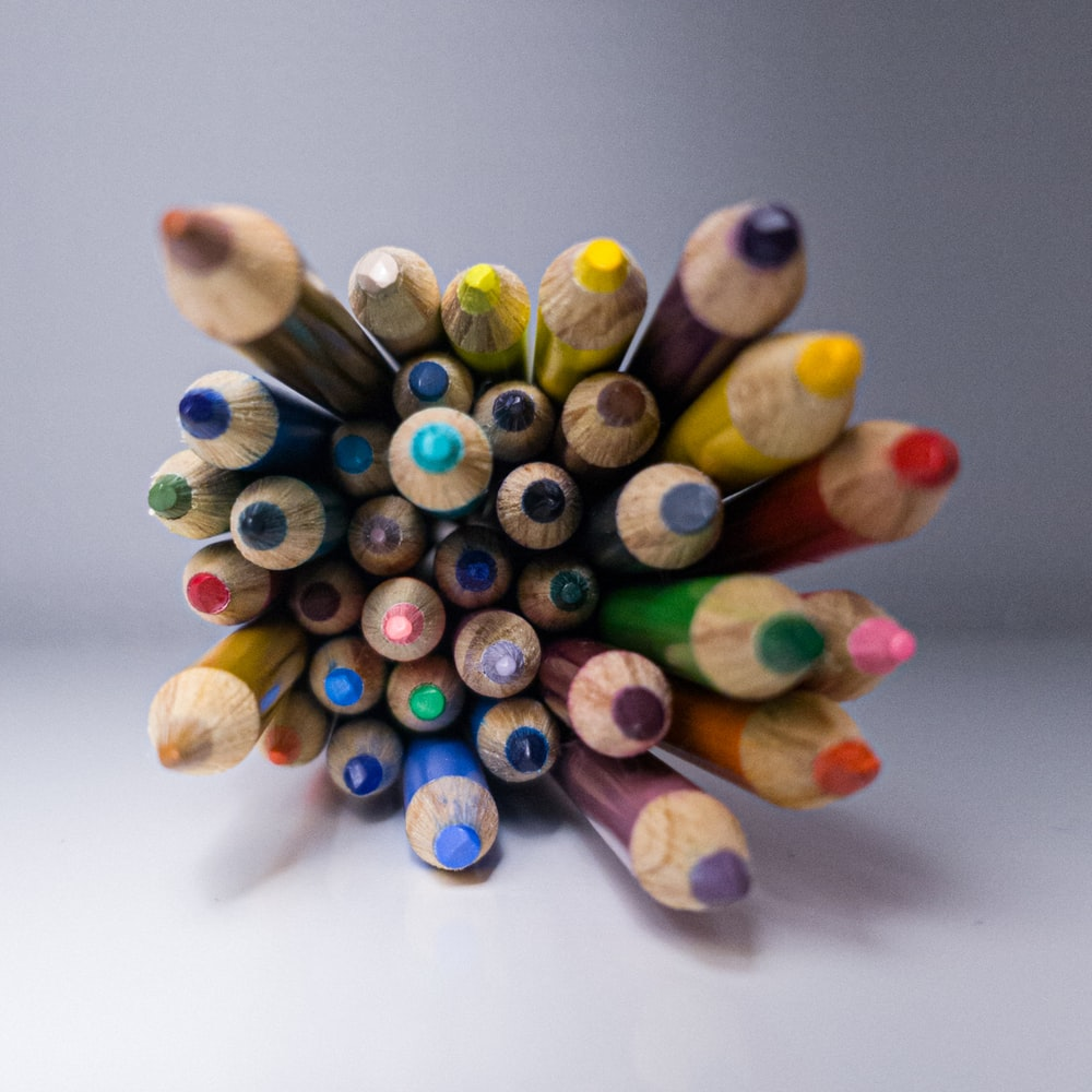 yellow blue and green coloring pencils