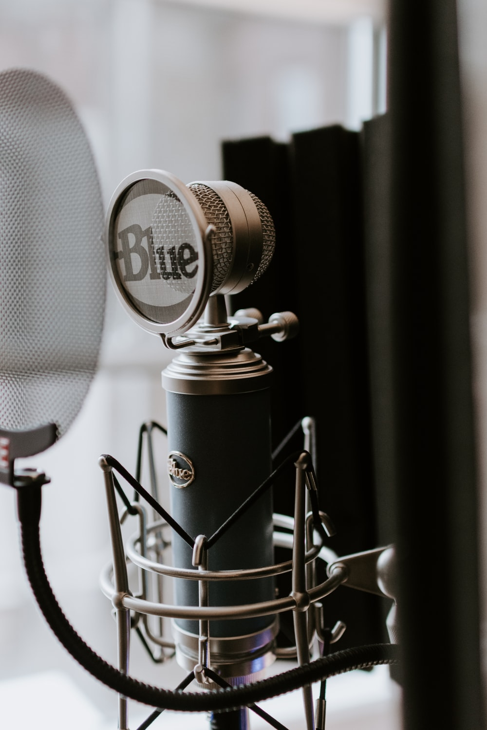 black and silver condenser microphone