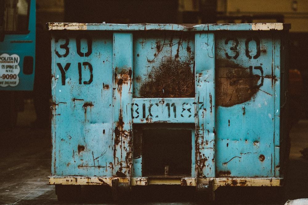 blue and white wooden door