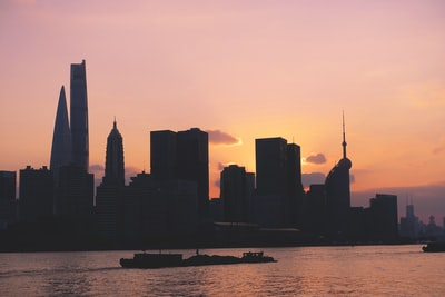 Shanghai silhouette of city buildings during sunset