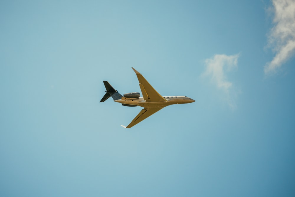 yellow and black plane flying in the sky
