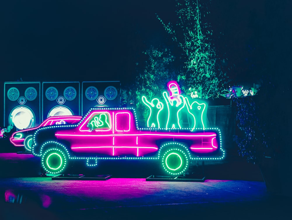 purple and pink lighted car