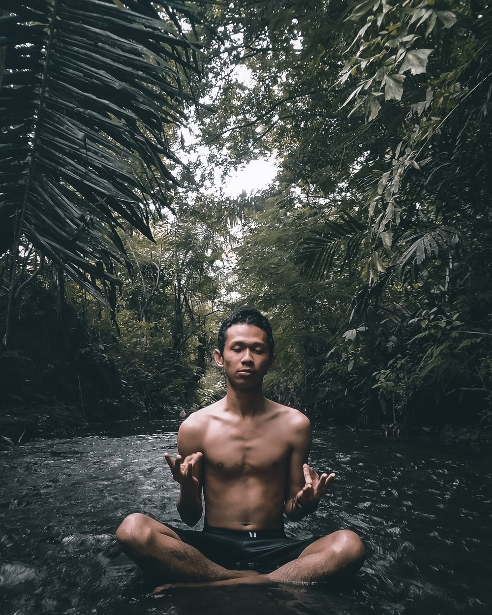 topless man sitting on water near green leaf trees during daytime