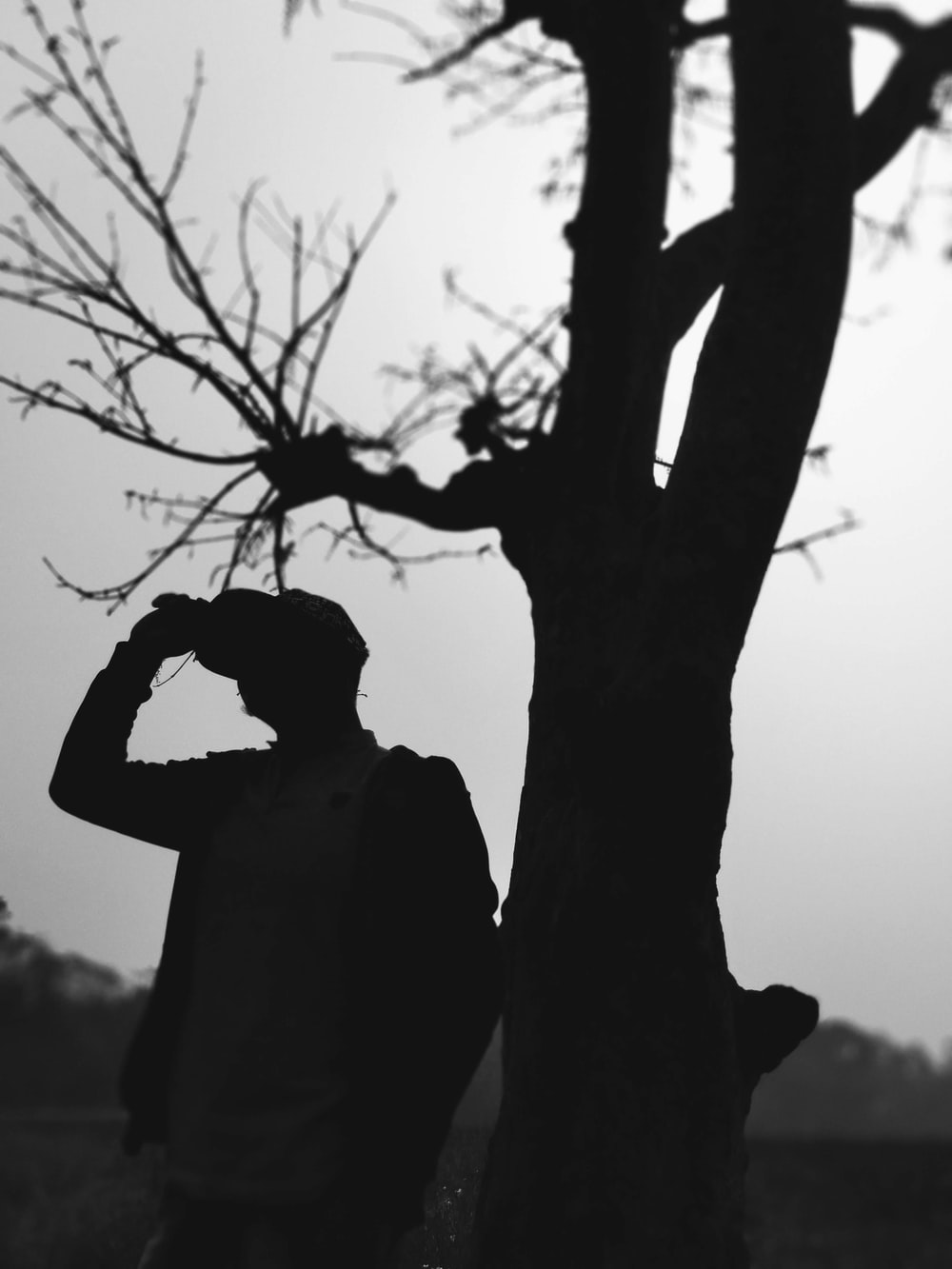 silhouette of man standing beside bare tree during daytime