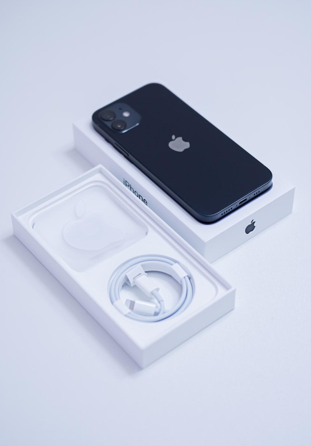 black iphone 7 on white box