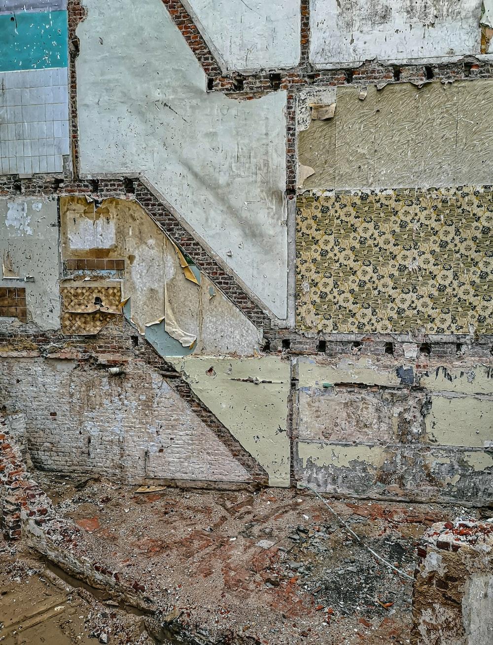 brown and white concrete brick wall