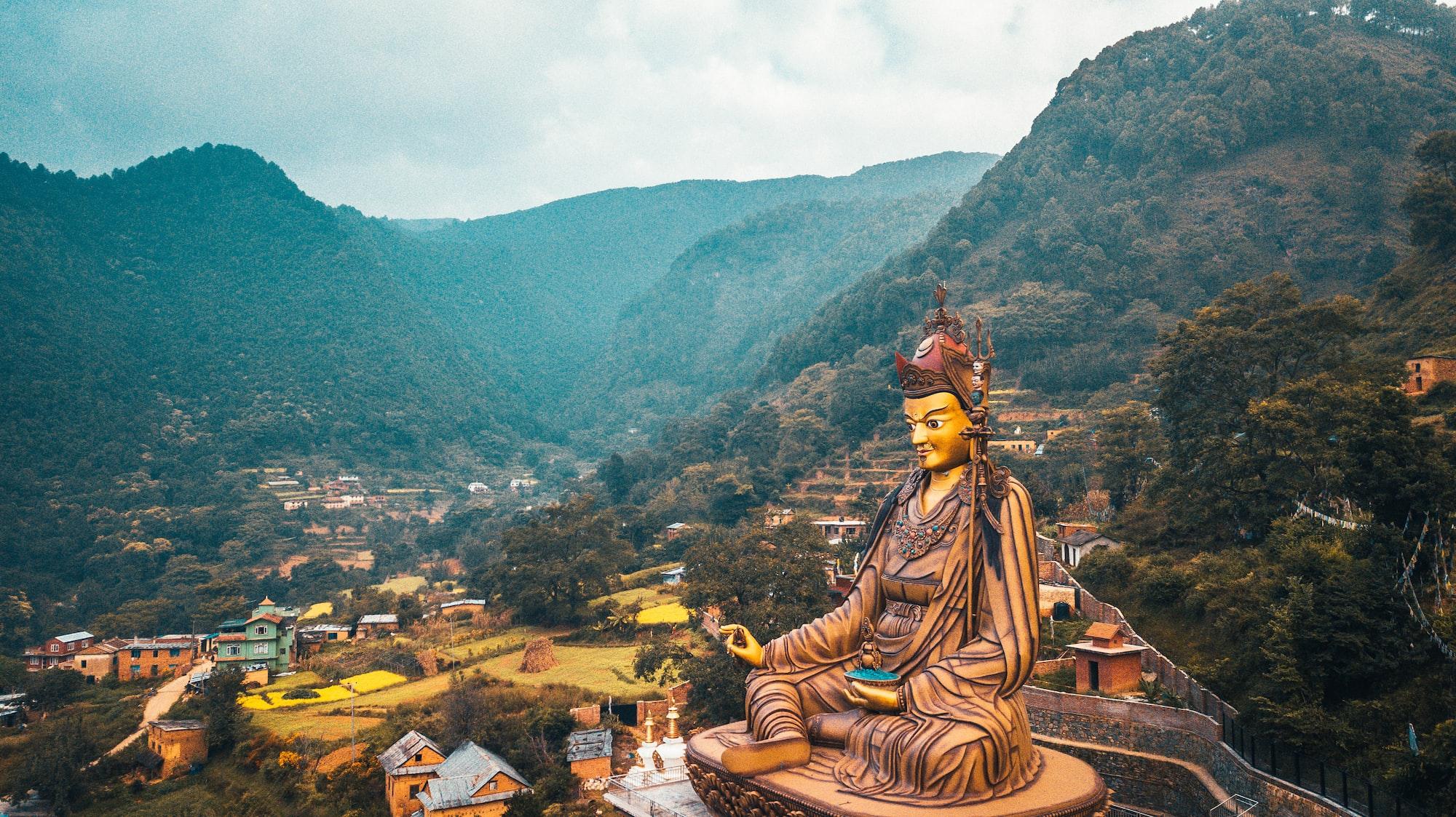 View of Statue Temple of Guru Padmasambhava from air: Pharping, Nepal - October 16, 2017 Video from Mavic drone