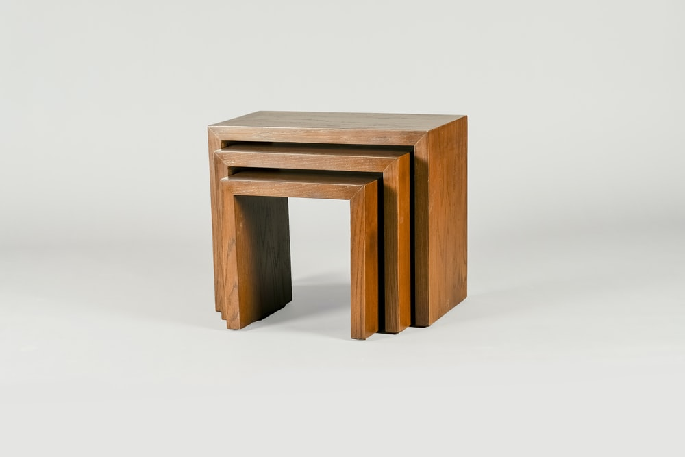 brown wooden table on white background