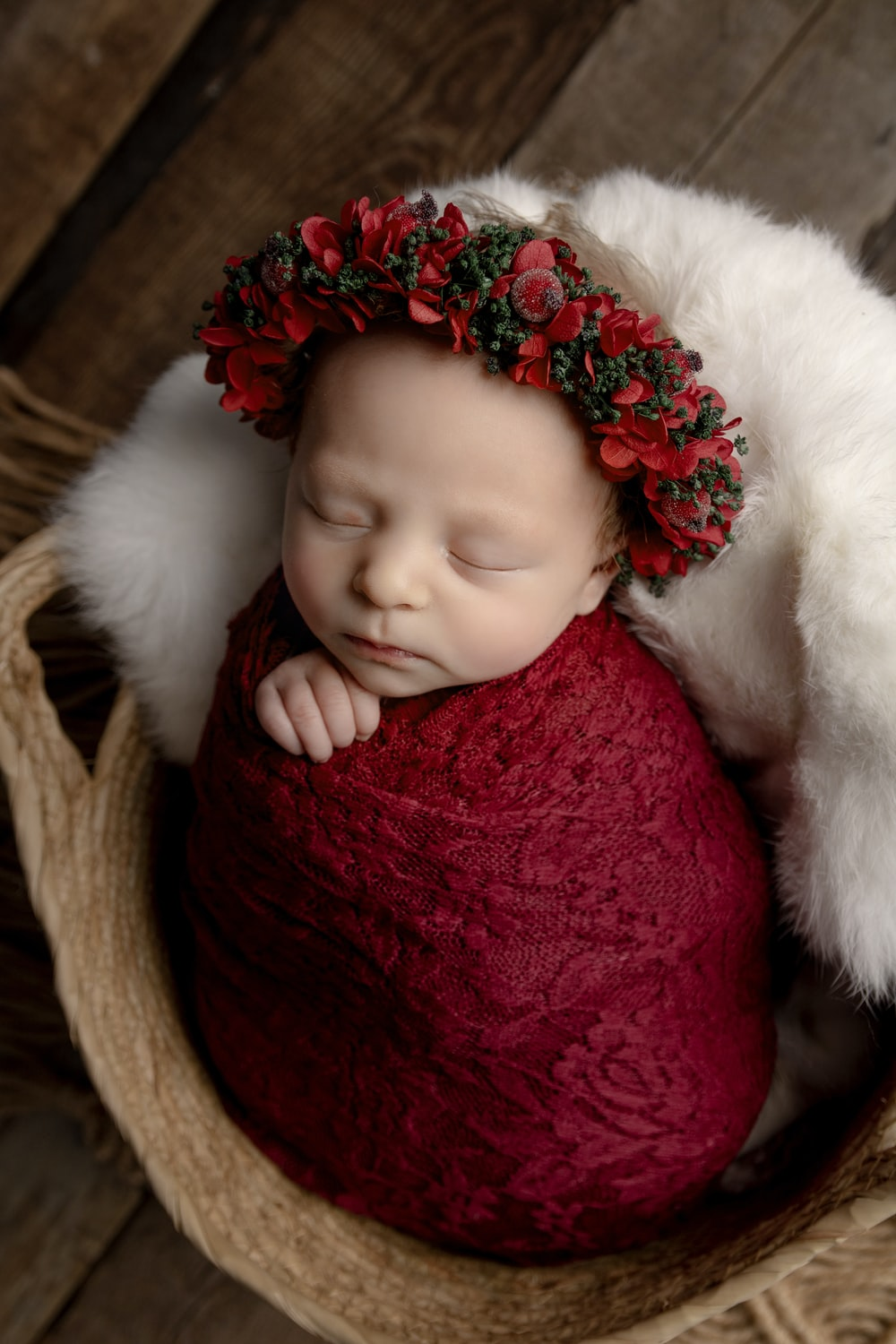 baby in red and white santa hat