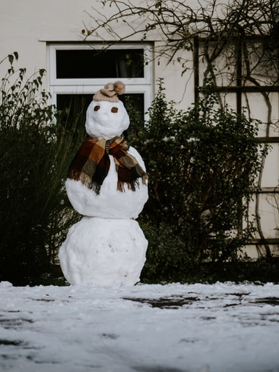 snowman with brown scarf and white scarf