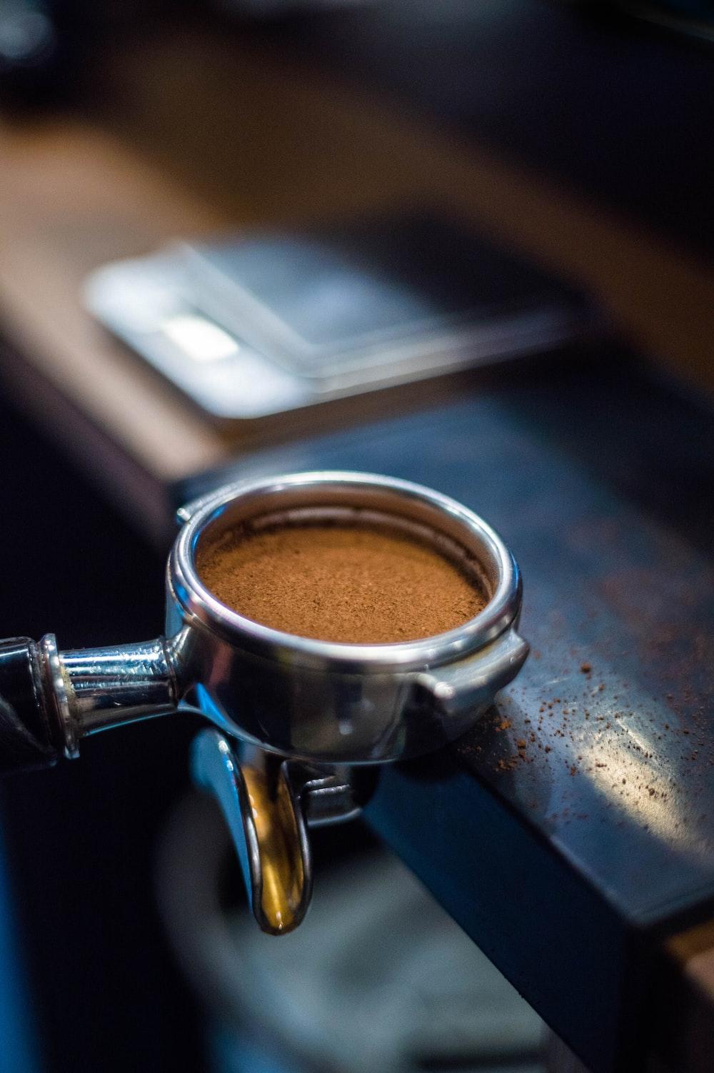 black coffee in silver mug